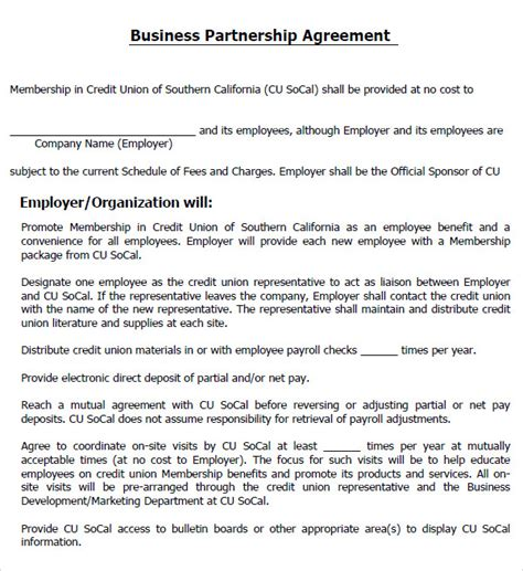 business contract template for partnership business partnership agreement 10 documents in pdf word