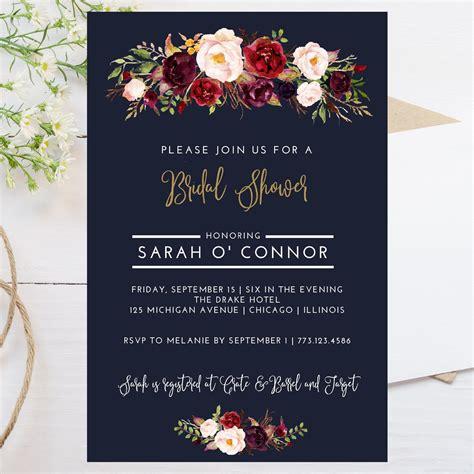 4x6 wedding invitation template digital 4x6 fall theme bridal shower invitation