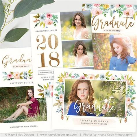senior templates for photoshop graduation announcement templates the bloom collection