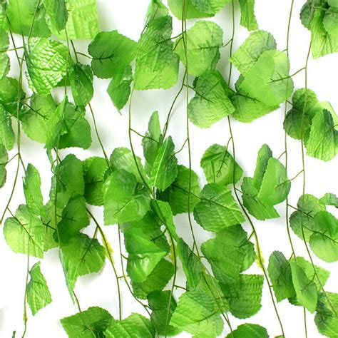 12pcs artificial plants green grape vine 2 2m green leaves fake plant plastic simulation flowers