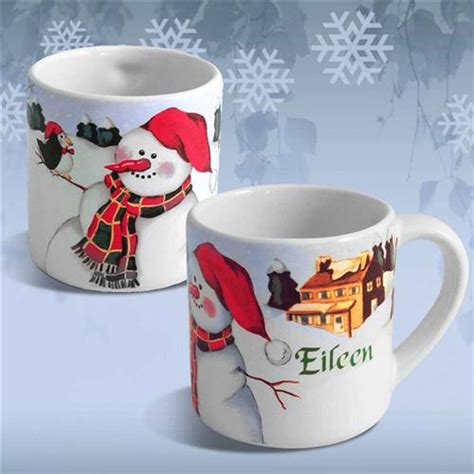 ceramic holiday gifts personalized ceramic coffee mug snowman personalized painted baby gifts
