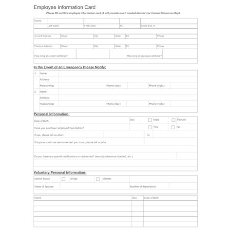 contact information form template employee personal 769 compatible
