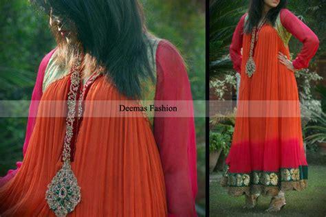 pakistani anarkali dresses latest collection 2013 trendy pakistani designer collection double tone anarkali pishwas