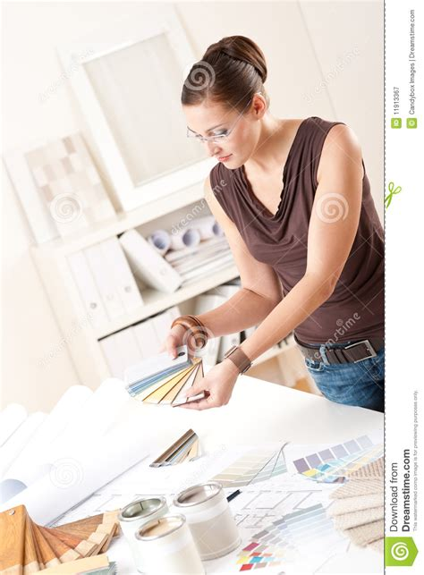 successful interior designer woman at office royalty free