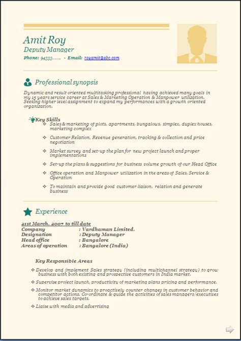 Resume Format Doc For Manager Level Professional Beautiful Resume Sle Doc Experienced And Freshers Resume Formats