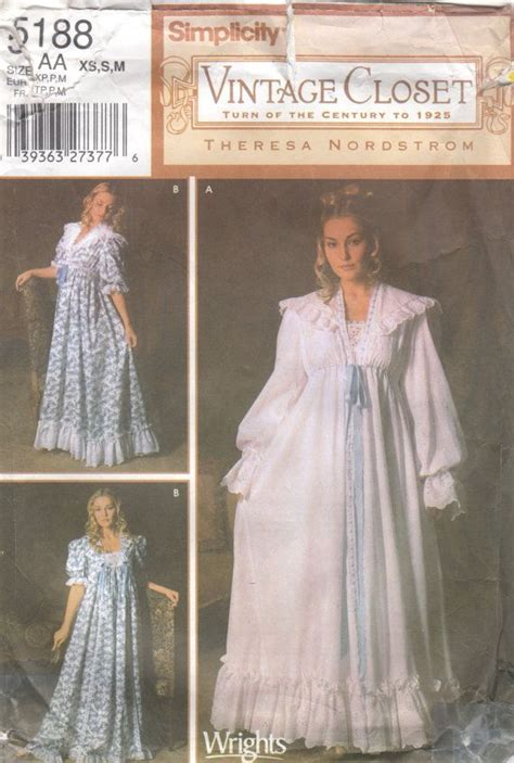 sewing pattern victorian nightgown simplicity 5188 misses victorian nightgown robe pattern