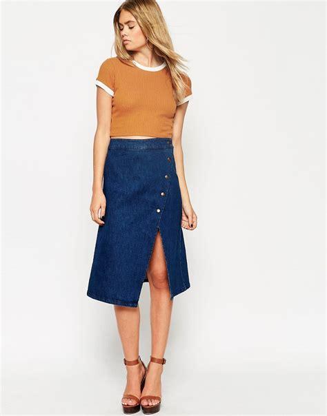 asos asos denim wrap midi skirt with poppers at asos