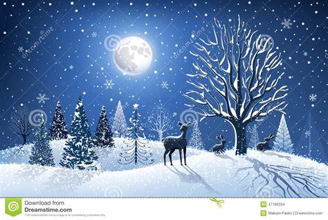 Wonderful Charity Christmas Cards #1: Christmas-card-reindeer-background-big-tree-forest-animals-47766334.jpg