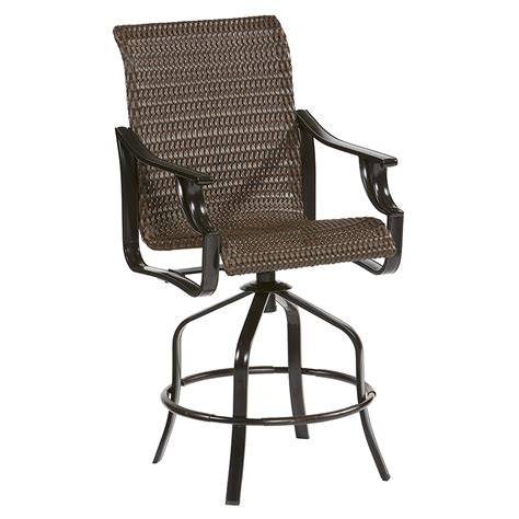 Allen And Roth Patio Chairs Shop Allen Roth Safford Set Of 2 Brown Aluminum Patio Bar Stool Chair At Lowes