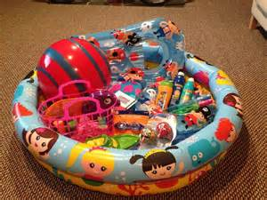 Beach pool themed raffle basket for kids classroom creation baskets