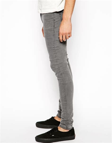 light grey jeans mens lyst asos extreme super skinny jeans in light grey in