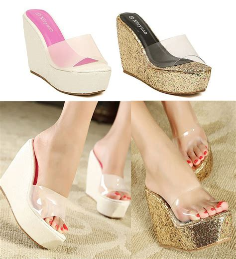 wedge slippers womens s transparent platform wedge slippers bling bling