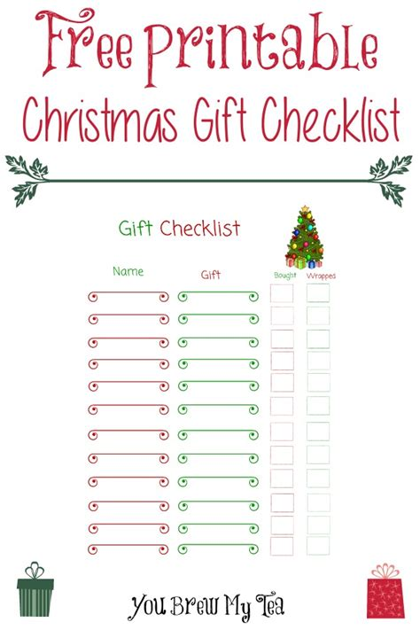 free printable christmas gift checklist