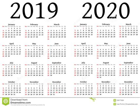 Calendar 2019 And 2020 Calendar For 2019 And 2020 Stock Vector Image 50677558