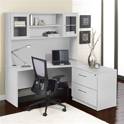 series corner  shaped desk hutch lateral file  side dcg stores