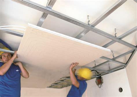 Ceiling Board Installation by Climatizaci 243 N Invisible Por Techo Radiante Gypsum Panel De