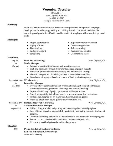 Production Manager Resume by Best Traffic And Production Manager Resume Exle