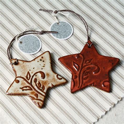 handmade ceramic christmas ornaments eco stars