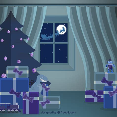 house interiors and gifts christmas house interior with santa claus gifts vector free download