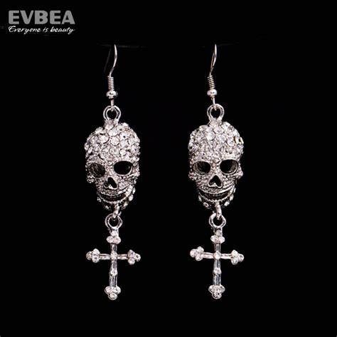 evbea rhinestone skull earrings with cross dangle earrings