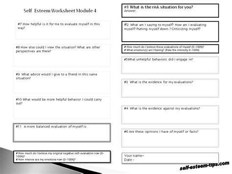 Free Self Esteem Worksheets For Adults 15 best images of self esteem therapy worksheets