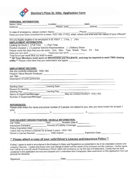 printable job application for domino s pizza top dominos application form templates free to download in