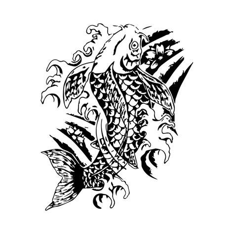 tee shirt tatouage japonais de carpe koi blanc