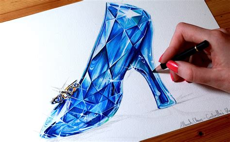 how to draw a glass slipper cinderella drawing the glass slipper