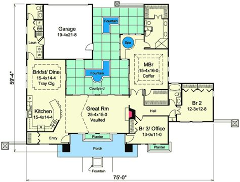 mediterranean floor plans with courtyard mediterranean home plan with central courtyard 57268ha architectural designs house plans