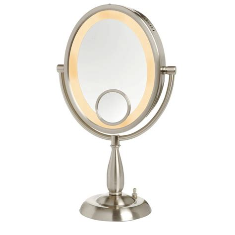10x lighted makeup mirror jerdon 8 in dia wall mounted mirror in nickel jp7506n