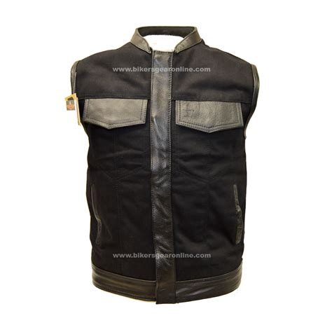 motorcycle clothing online men s motorcycle son of anarchy black denim vest w leather