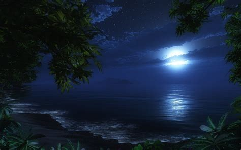 paint nite west island 壁紙画像 187 月明かりと海 moonlight and the sea