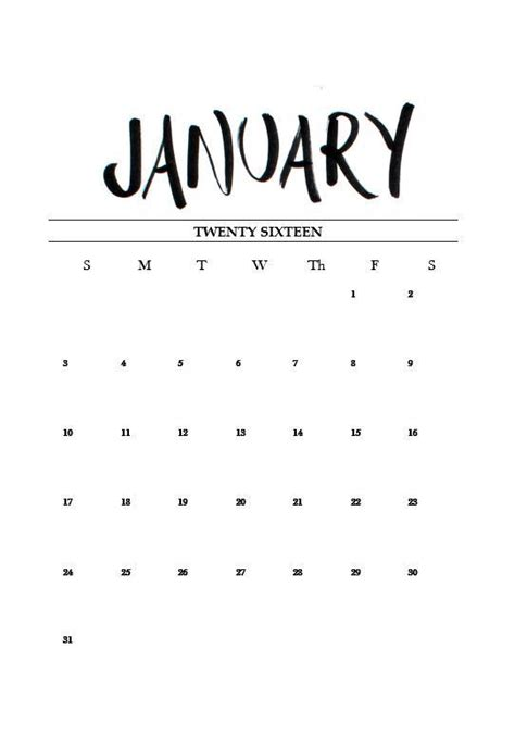 printable calendar tumblr free printable january 2016 calendar hands january