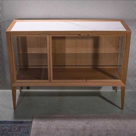 Low Glass Cabinet by Mayda Oak Low Glass Luxury Display Cabinet Robson Furniture