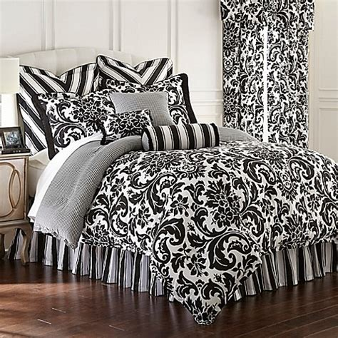 rose tree symphony reversible comforter set in black white