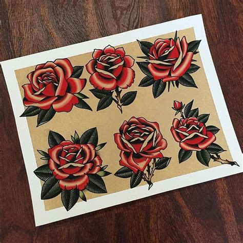 traditional roses flash by matt miller tattoo traditional