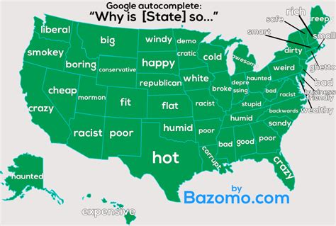 a list of the most googled quot why do quot questions in each map shows the most common google autocompletes for every state
