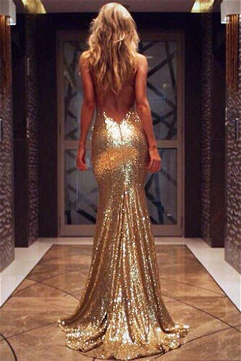 v neck open back evening dresses 2017 mermaid chagne gold sequins prom dress ba3586