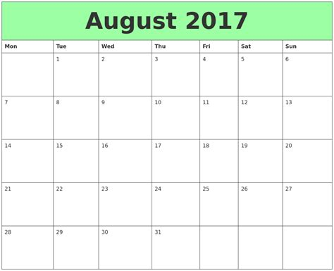 calendar 2017 free august template with holidays