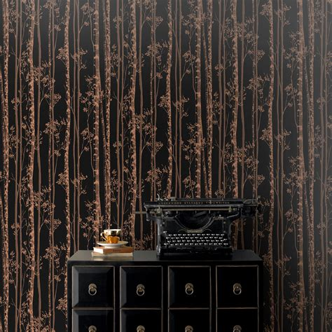 Kitchen Backsplash Diy pure black amp copper linden metallic effect wallpaper