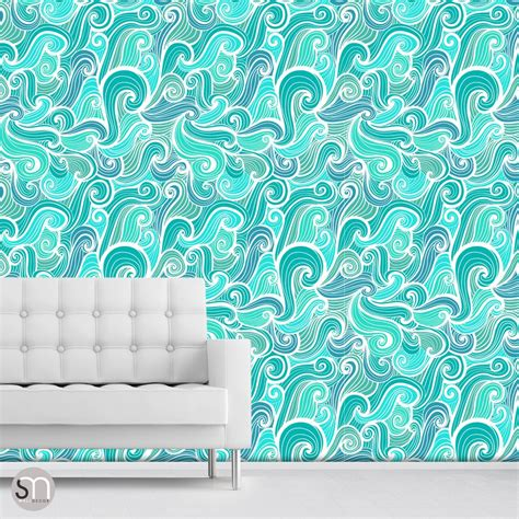 peel stick wallpaper aqua abstract waves peel stick wallpaper graphicsmesh
