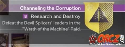 destiny research and destroy channeling the corruption