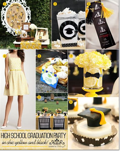 graduation tea themes a high school graduation party in chic yellow and black