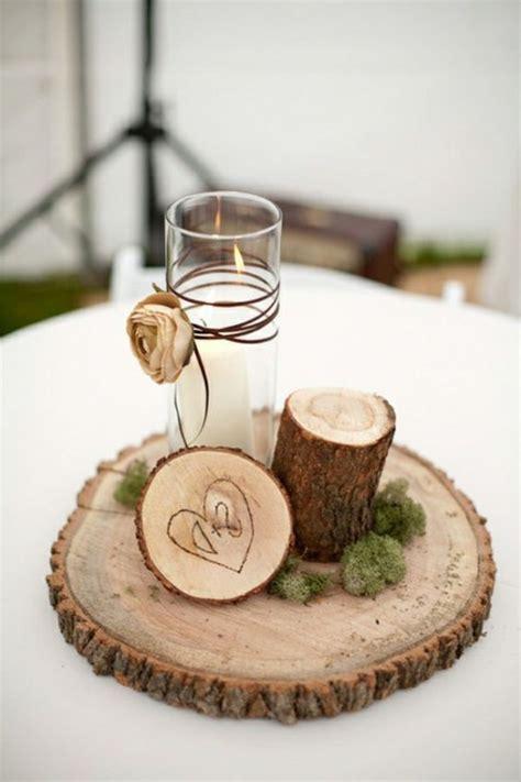 dekoration kerzen moderne tischdeko basteln holz kerzen und glas benutzen