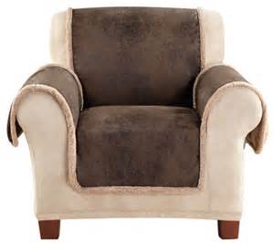 sure fit reversible faux leather sherpa chair furniture
