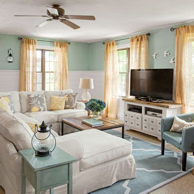 bloombety blue living room cottage look decorating tips coastal cottage family room before after cottage