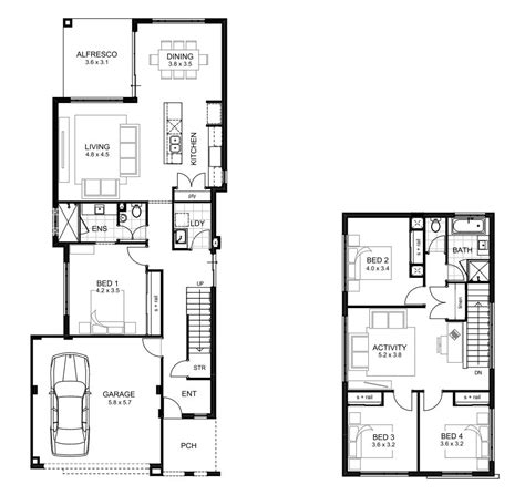 four bedroom double storey house plan 2 story 4 bedroom house plans escortsea