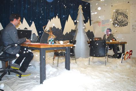 snow office holiday cheer fcb toronto s human real time snow globe