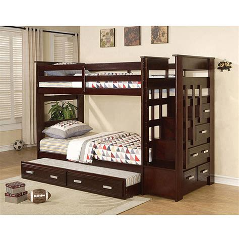 espresso bunk bed allentown twin over twin bunk bed espresso walmart com