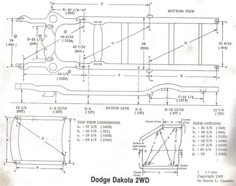 dodge dakota bed size chevy truck frame dimensions and specs 88 98 autos post